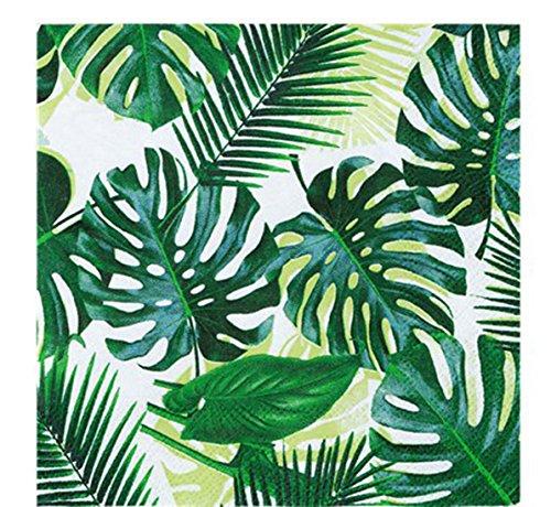 starbakery Tisch Dekoration Servietten Floral Tropen Dschungel Sommerparty Feier 20 Stück, 25x25cm, Grün