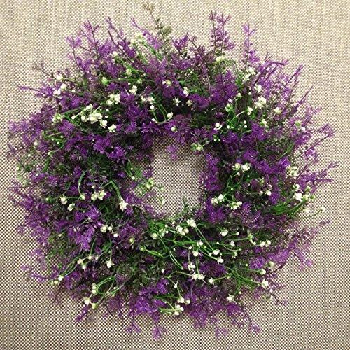 45cm Groß Künstlicher Lavendel Wiese Blumenkranz Dekokranz Türkranz Tischkranz Lavendelkranz