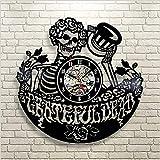 upnanren Muster-Vinylrekorduhr der Durchbrochenen Emaille 3D Retro Danksagungs-Toten Bandwanduhr kreative Vinylwanduhr