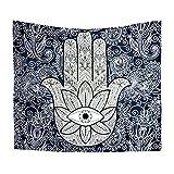 Kentop Hamsa Hand Indischen Mandala Tapisserie Wandbehang Psychedelic Wandteppich Boho Hippie Tapestry Wandtuch Tischdecke Strandtuch Tagesdecke Wanddeko (C)