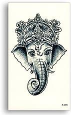 3D Temporary Tattoo Sticker Lord Ganesha Design Size 10.5x6CM - 1PC.