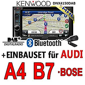 Audi a4 b7 dNX4150DAB - 2DIN navigationsradio kenwood autoradio dAB uSB avec mHL kit de montage