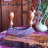 Kräutermesser, Kräuterwiege mit zwei Klingen und Griffen aus Olivenholz