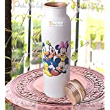 Prisha India Craft Digital Printed Pure Copper Water Bottle Kids School Water Bottle – Mickey Mouse And Donald Design Bottles, 1000 ML