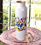 #8: Prisha India Craft Digital Printed Pure Copper Water Bottle Kids School Water Bottle – Mickey Mouse and Donald Design Bottles, 1000 ML