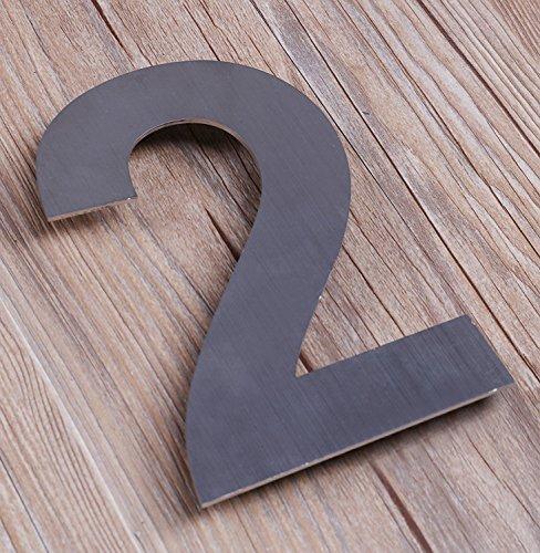 QT Moderne Hausnummer -Größe: 20 Zentimeter (Nummer 2 / Zwei) GROß, Gebürsteter Edelstahl - 3