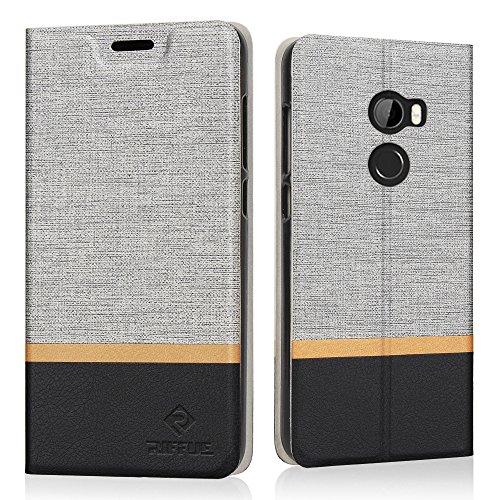 HTC One X10 Hülle, Riffue Dünnes Retro Denim Muster PU Leder Schutz Folio Schützende Abdeckung für HTC One X10 - Grau