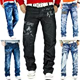 Kosmo Lupo Herren Jeans Freizeit Streetwear Urban Style Denim Black