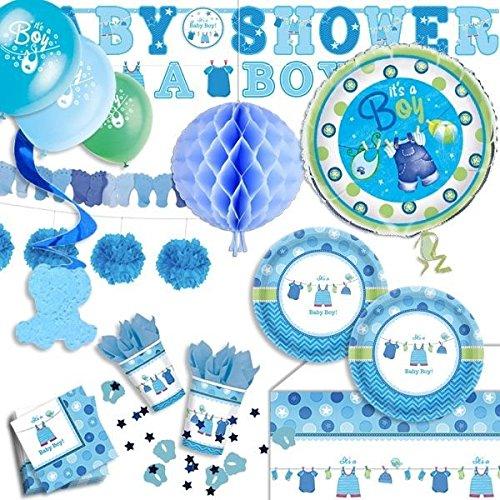 geburtstagsfee Babyparty Komplettset It's a boy 61-tlg. blau, f. Pullerparty mit Partygeschirr
