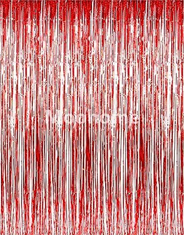 Moohome 3FTx8FT métallique Feuille frange Rideaux Shimmer Porte Rideau pour fenêtre Décoration Décorations de Fête for the Décoration of celebration