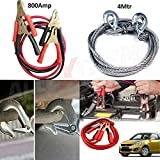 #7: AllExtreme Combo Of Car Heavy Duty 800 Amp Jumper Booster Cables And Full Steel Towing Tow Cable 3 Ton Towing Capacity 8MM Heavy Duty 4 Meters With Hook (800 Amp)