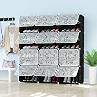 PREMAG Portable Shoe Storage Organzier Tower, Black with transparent doors, Modular Cabinet Shelving for Space Saving, Shoe Rack Shelves for shoes, boots, Slippers