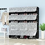 PREMAG Portable Schuhablage Organizer Tower, Schwarz mit transparenten Türen, Modular Cabinet Regale für platzsparende, Schuhregal Regale für Schuhe, Stiefel, Hausschuhe 3 * 7