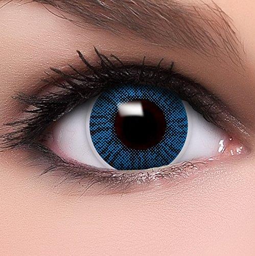 Lenzera Intense 'Sapphire' blaue farbige Kontaktlinsen für dunkle Augen ohne und mit Stärke