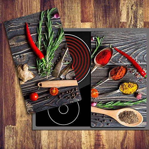 Gsmarkt | Herdabdeckplatte Schneidebrett Spritzschutz Set 2x30x52 | Bild auf Glas | Sicherheitsglas Gehärtetes Glas Bild | Motiv Gewürze