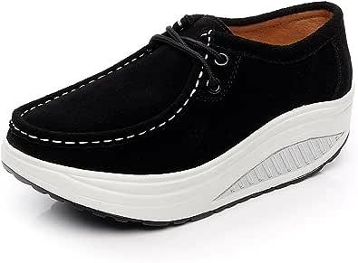 rismart Donna Comodo Piattaforma Cuneo Scamosciato Pelle Addestratore Sneaker Nero 35 EU