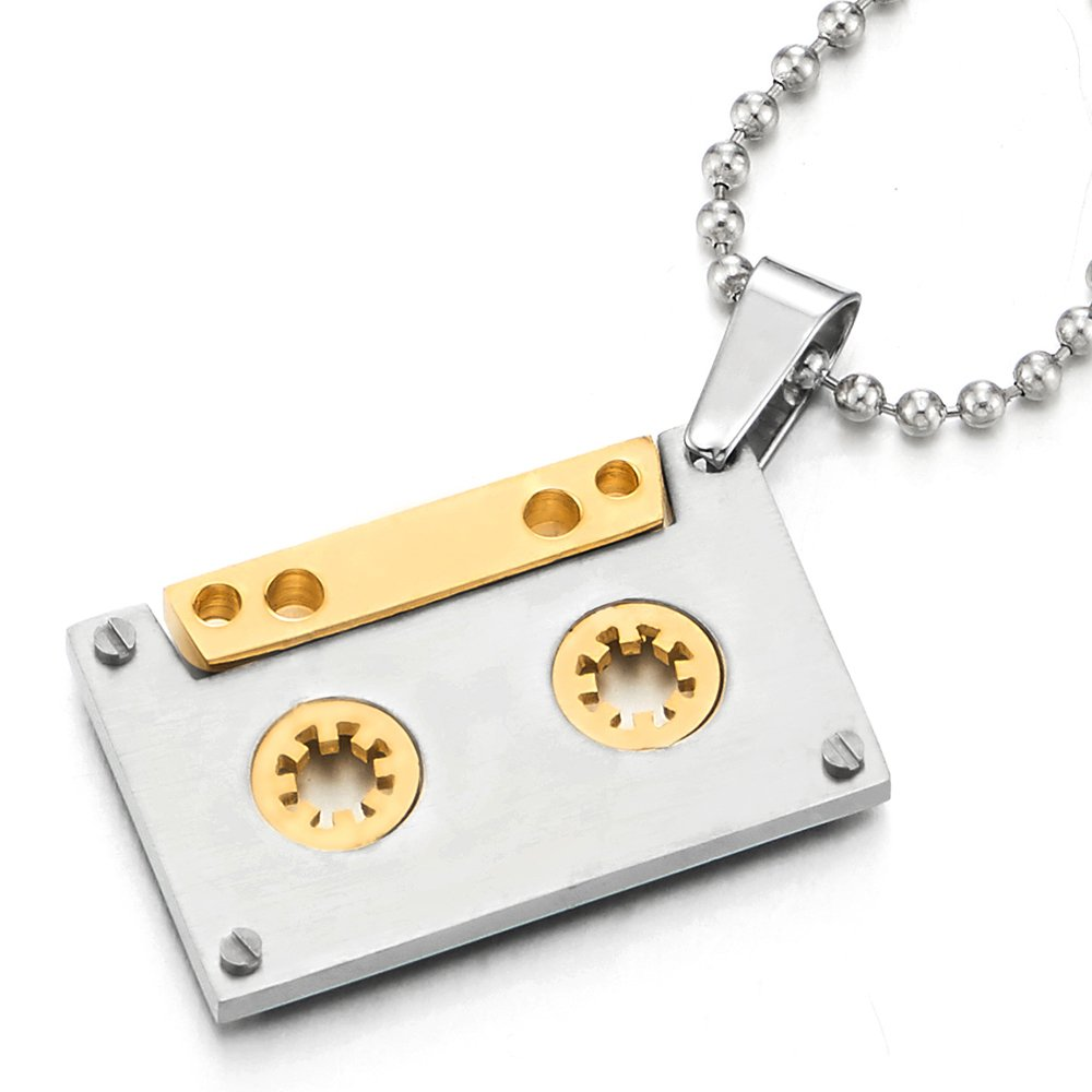 COOLSTEELANDBEYOND Unisex Gold Silver Cassette Pendant Necklace for Men Women Stainless Steel with 30 inches Ball Chain