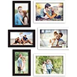 Art Street Wall Photo Frame Synthetic Wood, Picture Frame for Home Decoration (Black and White, 4x6, 5x7 inches) - Set of 6