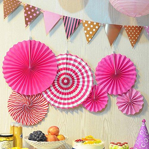 9 Stück gemischte Seidenpapier Pompons/Wabenbälle / Runde Papierlaternen Lampenschirme Tischdekoration Girlande Seidenpapier Hochzeit Party Dekoration 6X Fan-Fuchsia ()