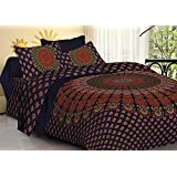 Vashishtha Badmeri Print Bedsheet For Double Bed With Pillow Cover - Cotton Bedsheet With 200 Thread Counts - Printed Bedsheet With Pillow Case For Home Decor - Dark Blue And Red