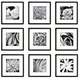 HighOnDesign Square Wooden Photo Frame Wall Gallery Kit set of 9 pieces in Black Colour