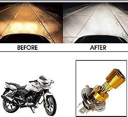 Vheelocityin Golden Missile Hi Low Beam H4 Bike Bulb Motorcycle LED Headlight Bulb For Tvs Apache Rtr 180