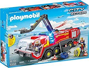 Playmobil Aeropuerto- Airport Fire Engine with Lights and Sound Playmobil Playset,, Miscelanea (5337)