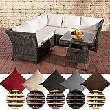 CLP Garten Lounge-Gruppe SANTA LUCIA, 5 mm RUND-Geflecht, 2x Sofa, 1x Ecksofa + Tisch 70 x 70 cm Rattan Farbe: grau-meliert, Bezug: Cremeweiß