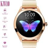 ZDY Smart Watch KW10, okrągły ekran dotykowy, wodoszczelność IP68, dla kobiet, tracker fitness z pulsometrem i krokomierzem s