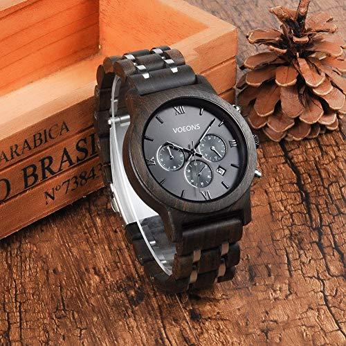 VOEONS Herren Uhr, Herren-Armbanduhr Chronograph Holzuhr mit Gliederarmband Schwarz 6010 - 6