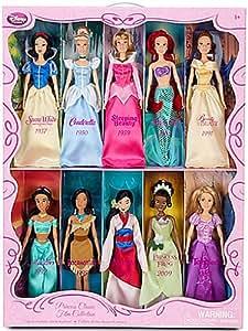 Coffret de 10 poupées Princesses - Blanche Neige, Cendrillon, La Belle au Bois Dormant, La Petite Sirène, Belle, Jasmine, Pocahontas, Mulan, Tiana, Raiponce