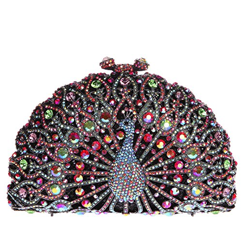 Bonjanvye Glitter Crystal Peacock Clutch for Girls Peacock Clutch Evening Bag Smoky Yellow red