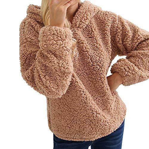 NINGSANJIN Damen Mantel Revers Faux F¨¹r Lose Langarm Outwear Tasche Rei?Verschluss Winterjacke Mode Kurz Coat (Braun,L)