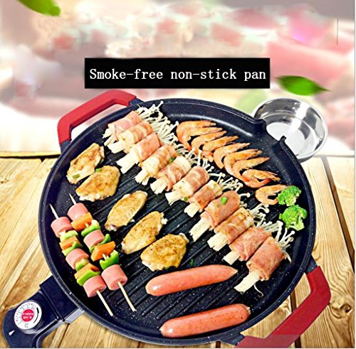 Round Electric Barbecue Plate Electric Backofen Smokeless Electric Barbecue Grill Pot Machine Korean Style Teppanyaki (Korean Barbecue-grill Tisch)