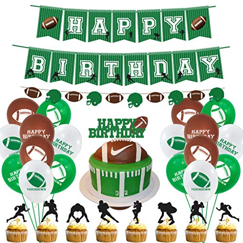 shengo 46Pcs Fußball Party Supplies und Dekorationen Set-Include Football Helm ziehen Blume, Rugby Geburtstag Flagge, Cupcake Toppers, Banner, Latex-Ballons für Super Bowl Party