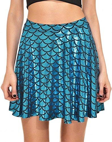 Bilance di pesce Gonne Gonne da donna Stampa a pieghe Scale a sirena Skater Swing Girls Skirt S-4XL Blu