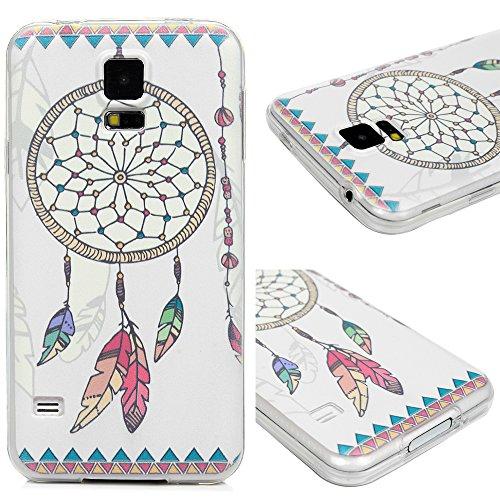 Edauto für Samsung Galaxy S5 9600 Hülle Silikon Case Ultra Dünn Handyhülle Schutzhülle Transparent Handyschale Handytasche Malen Tasche TPU Durchsichtige Schale Soft Etui Farbe Traumfänger