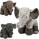 Fermaporta a forma di elefante in tessuto pesante scozzese, ideale per casa e ufficio
