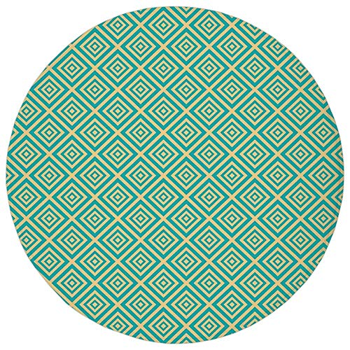 Round Rug Mat Carpet,Art Deco,Nested Squares Geometrical Contemporary Design Symmetrical Tile Print Decorative,Turquoise and Yellow,Flannel Microfiber Non-slip Soft Absorbent,for Kitchen Floor Bathroo - Deco-contemporary Rug