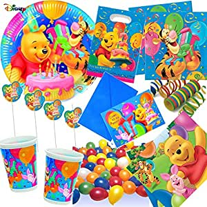 Dekospass Lot de 113 accessoires pour anniversaires «Winnie l'ourson » avec 6 à 10 enfants : assiettes, gobelets, serviettes, invitations, sachets de fête, nappe, pailles, ballons, serpentins etc.