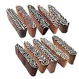Royal Kraft Mehndi Stampa Timbro Orientale Bordo Disegno Legno Blocchi (Set di 10)