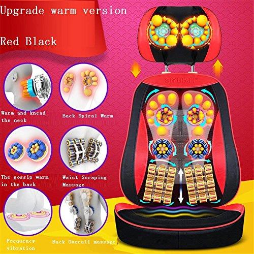 SHISHANG Massage-Stuhl mit Wärme-Massage-Matte Mechanische Hand-Linie Control abnehmbar (Hals / Taille / Schulter-Massage-Pad / Home Multifunktions-Massage-Kissen) Drei-Farben optional , 800b-5d red black