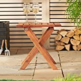 VonHaus Wooden Side Table - Folding Garden & Patio Coffee & Snack Table - Suitable for Indoor and Outdoor (46cm)