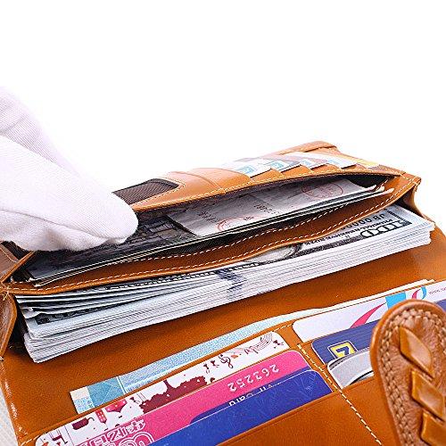 Artemis'Iris Womens tessuto Handmade Cera Portafoglio di cuoio di lusso Zipper Carte Money Organizer frizione viaggio lungo borsa della borsa, cammello red