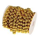 P Prettyia Party Diy Schnur Perlen Kette Perlengirlande Für Hochzeit Taufe Weihnachten DIY Handwerk Braut Haarschmuck Brautstrauß aus Kunststoff - Gold, 10m 10mm