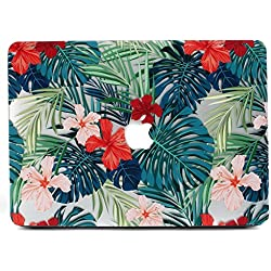 Coque MacBook Pro 13 Retina, L2W Matte Print Housse de protection Palm Coque Extérieure pour Palm MacBook Pro 13 pouces avec Retina Display Pas de CD-Rom (A1502 / A1425) - Feuilles de Palm et Rouge