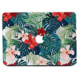 Coque MacBook 12 pouces, L2W Matte Print Tropical Palm Leaves Pattern Coated PC Housse de protection dure Coque pour Macbook 12 'inch With Retina Display (Modèle A1534) - Palm leaves & Red Flowers