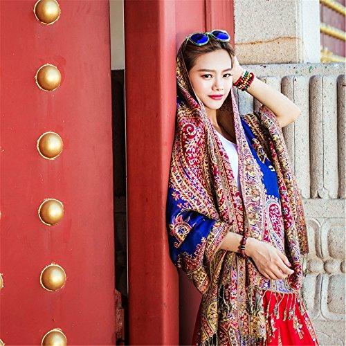 Le vent de voyage national au printemps et l'été femme Foulard Pashmina écharpe rétro chaud épais bureau double usage 200cm*70cm,meihong Baolan