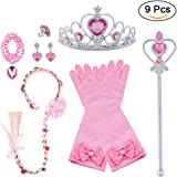 Vicloon Principessa Dress Up 9 Pezzi Accessori per Ragazze Braid Diadema Varita Magic Collana Anello Orecchino Guanti per Fes