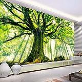 Carta Da Parati Fotografica 3D Fotomurale Verde Foresta Paesaggio 150X100Cm Foto Wallpaper 3D Adesivi Parete Fotomurale Poster Gigante Fotomurali Decorazione Della Parete Soggiorno Camera